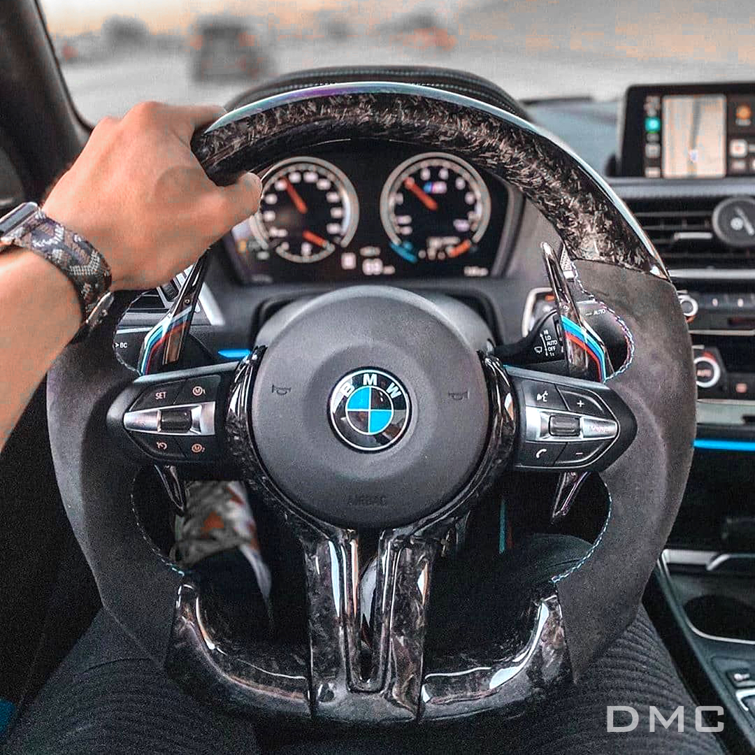 Bmw M2 M4 M6 M8 Forged Carbon Fiber Performance Steering Wheel With Leather Alcantara Suede Dmc