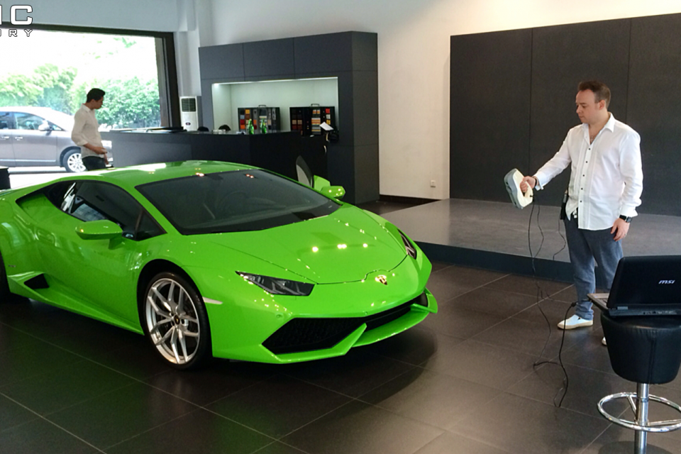 German Engineer performing 3D Scan of a Lamborghini Huracan Super Car